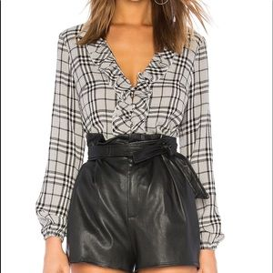 MAJORELLE Black plaid blouse top